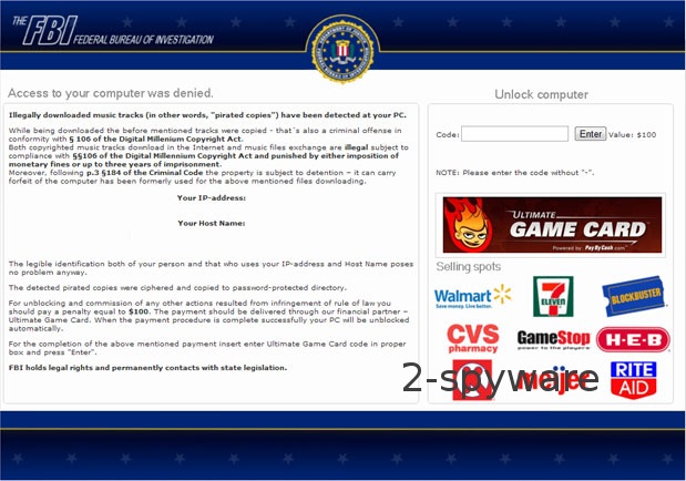 FBI Ultimate Game Card virus ekrano nuotrauka