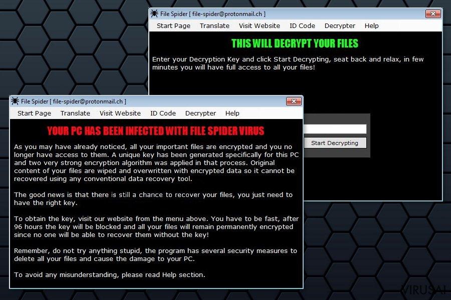 File Spider viruso išpirkos raštelis