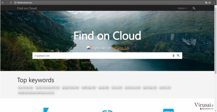 Findoncloud.com virusas - tai nepatikima paieškos sistema