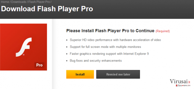 Flash Player Pro virus ekrano nuotrauka