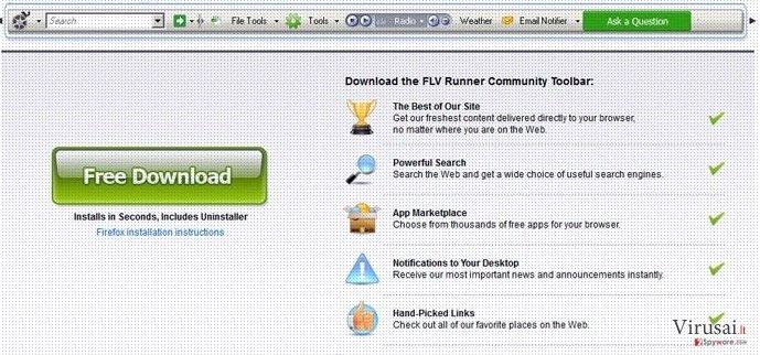 Flv įrankių juosta ekrano nuotrauka