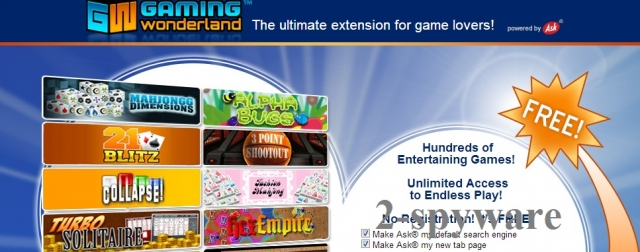 Gaming Wonderland Toolbar ekrano nuotrauka