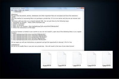 GandCrab viruso atakos pavyzdys