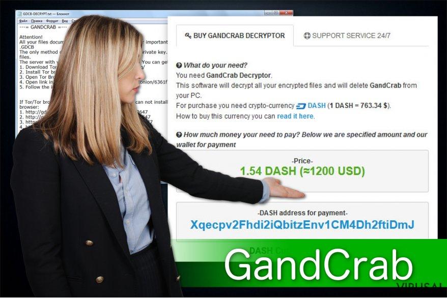 GandCrab ransomware viruso pavyzdys