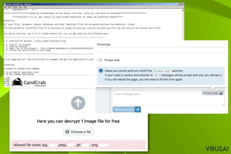 Gandcrab 5.1 ransomware ekrano nuotrauka