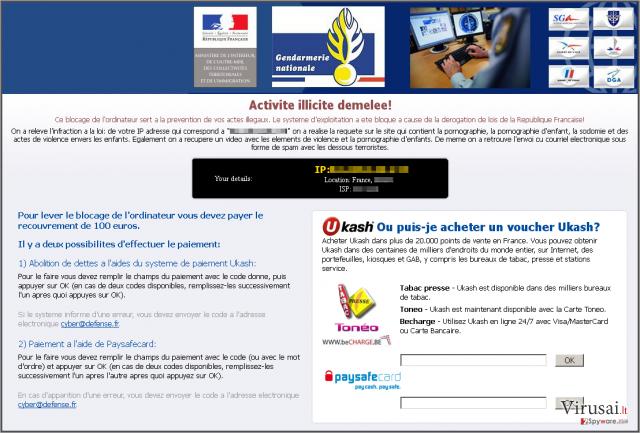 Virus Gendarmerie ekrano nuotrauka