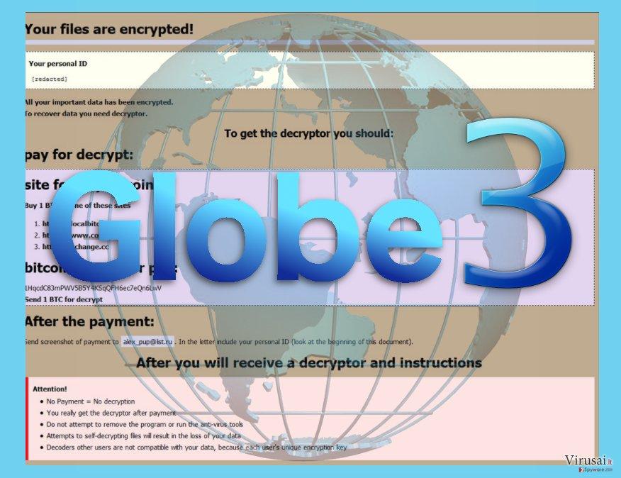 Globe3 virusas ekrano nuotrauka