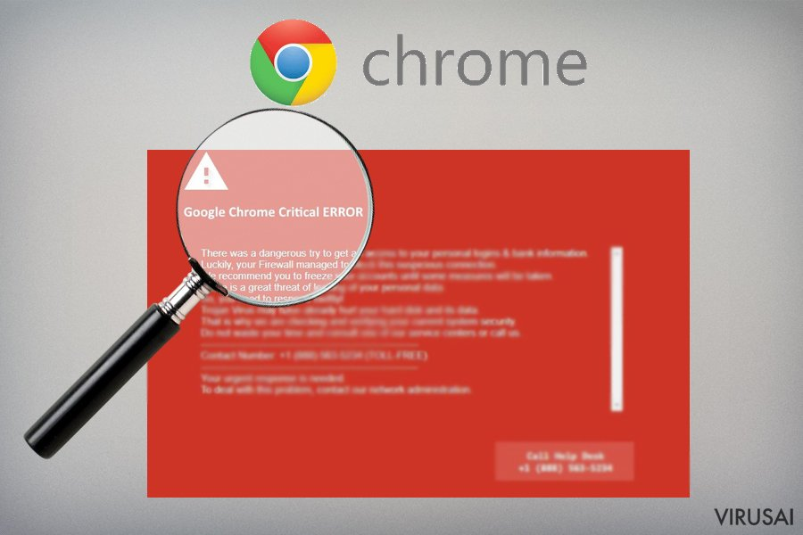 Google Chrome Critical Error apgaulinga aplikacija