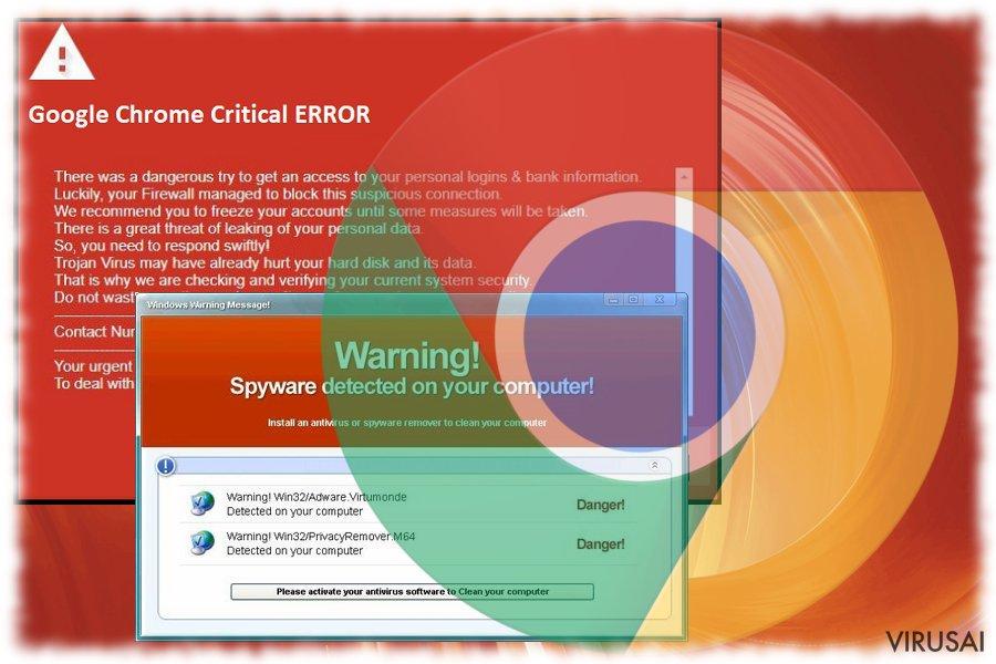 Google Chrome Critical ERROR žinutės paveiksliukas