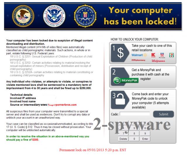 Homeland Security virus ekrano nuotrauka