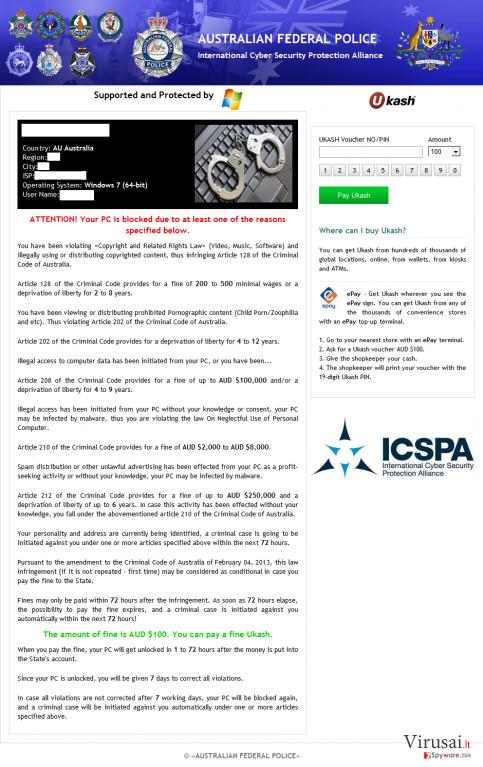 ICSPA virusas ekrano nuotrauka