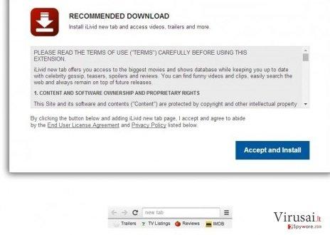 iLivid naujo skirtuko virusas ekrano nuotrauka