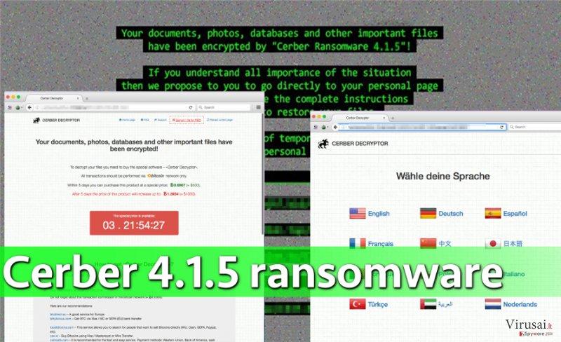 Cerber 4.1.5 virusas užgrobia kompiuteryje saugomus duomenis