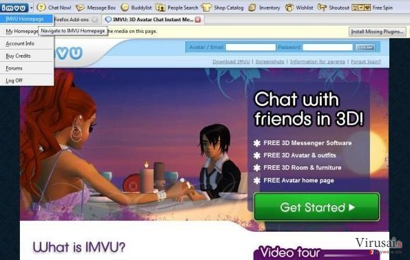 IMVU įrankių juosta ekrano nuotrauka