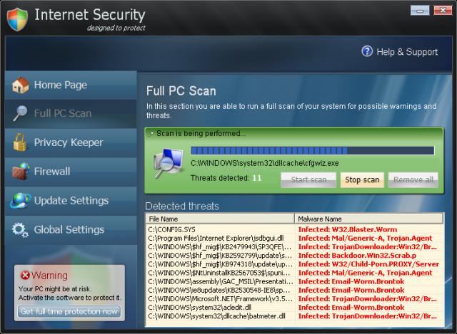 Internet Security ekrano nuotrauka