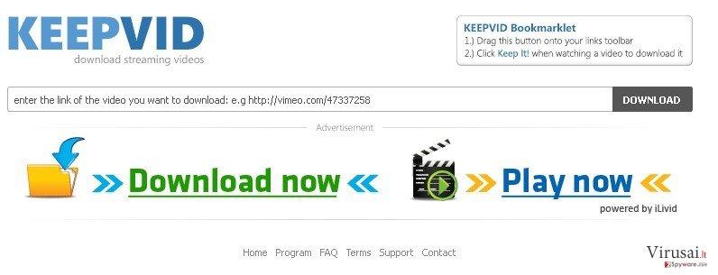 KeepVid.com ekrano nuotrauka