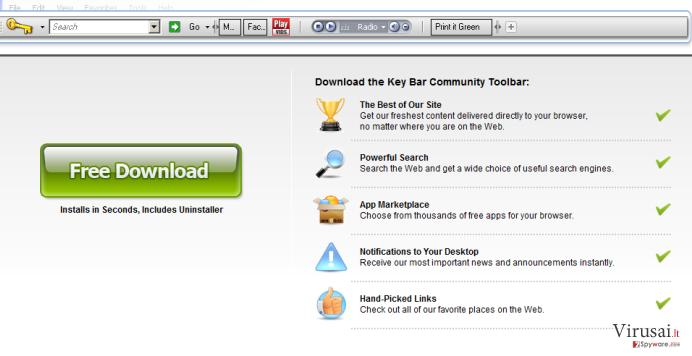 KeyBar įrankių juosta ekrano nuotrauka