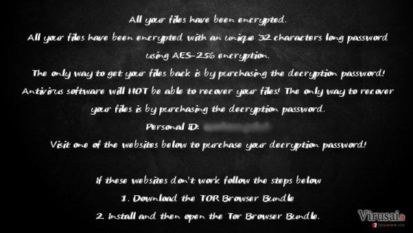 KillerLocker viruso atsiųsto išpirkos raštelio pavyzdys