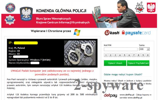 Komenda Glowna Policji virus ekrano nuotrauka