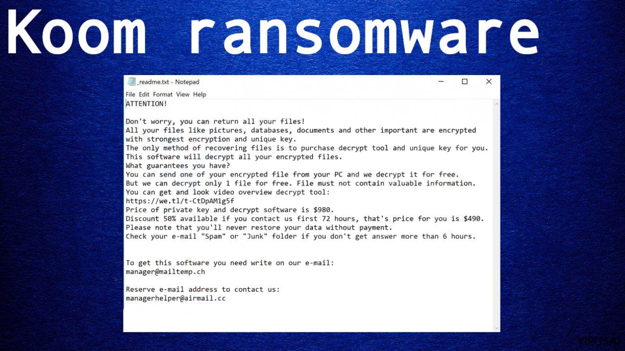 Koom ransomware virusas