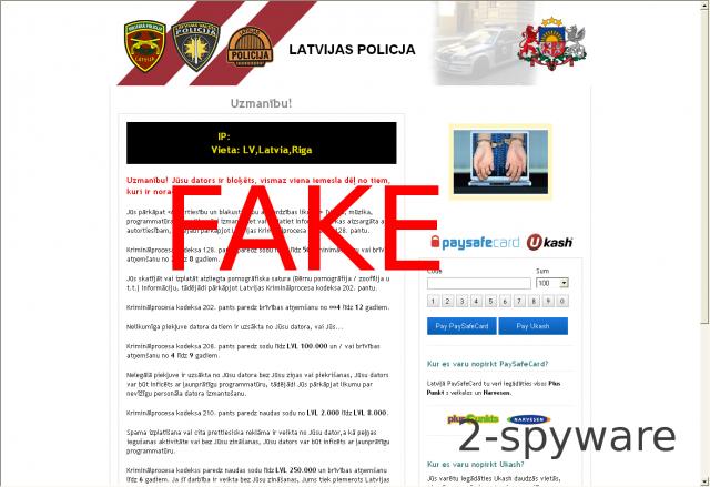 Latvian Police Virus ekrano nuotrauka