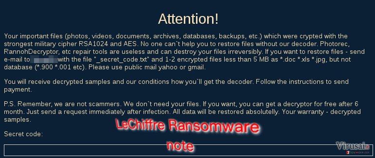 LeChiffre ransom note