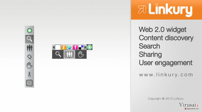 Linkury įrankių juosta  ekrano nuotrauka
