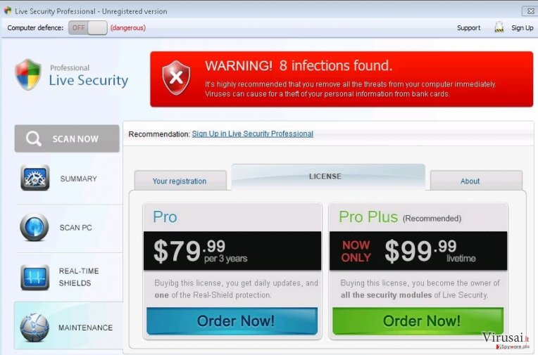 Live Security Professional ekrano nuotrauka