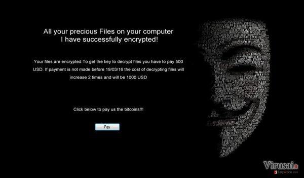 .Locked viruso informacinis pranešimas