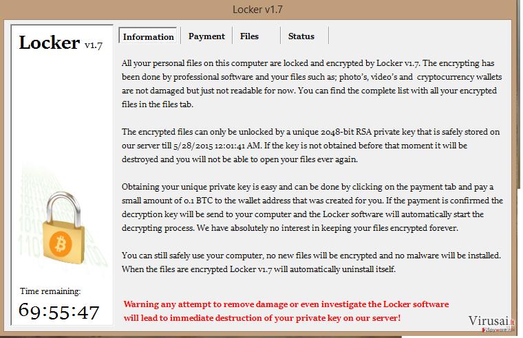 Locker virusas ekrano nuotrauka