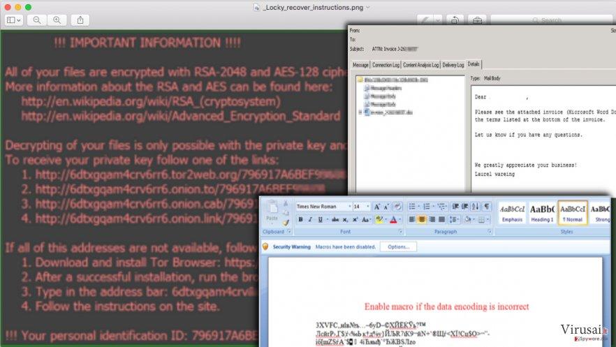 Locky virusas ekrano nuotrauka
