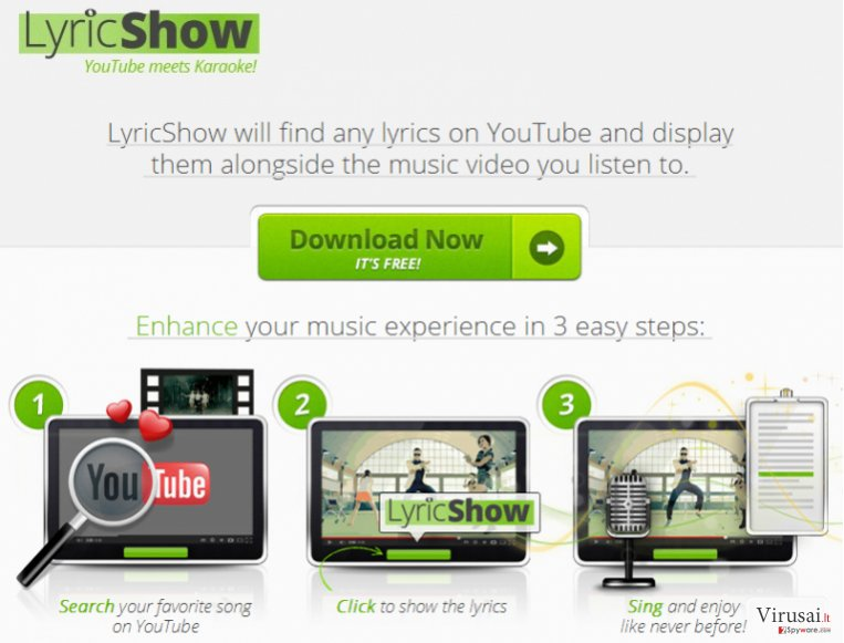 Ads by LyricShow virusas ekrano nuotrauka