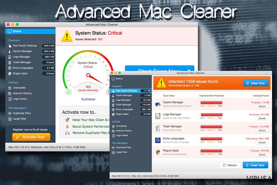 Advanced Mac Cleaner nepatikima programa