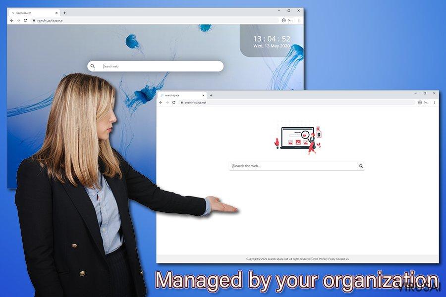 """""""Managed by your organization"""" pranešimas"""