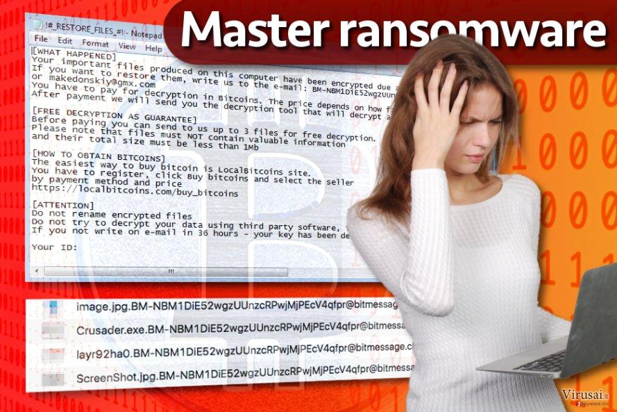 Master ransomware viruso pavyzdys