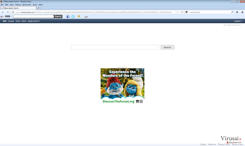 Metacrawler įrankių juosta ekrano nuotrauka