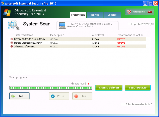 Micorsoft Essential Security Pro 2013 ekrano nuotrauka