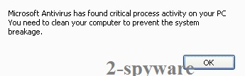 Microsoft Antivirus has found critical process activity on your PC ekrano nuotrauka