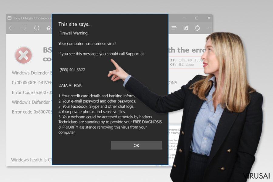 Microsoft Edge virusas ekrano nuotrauka