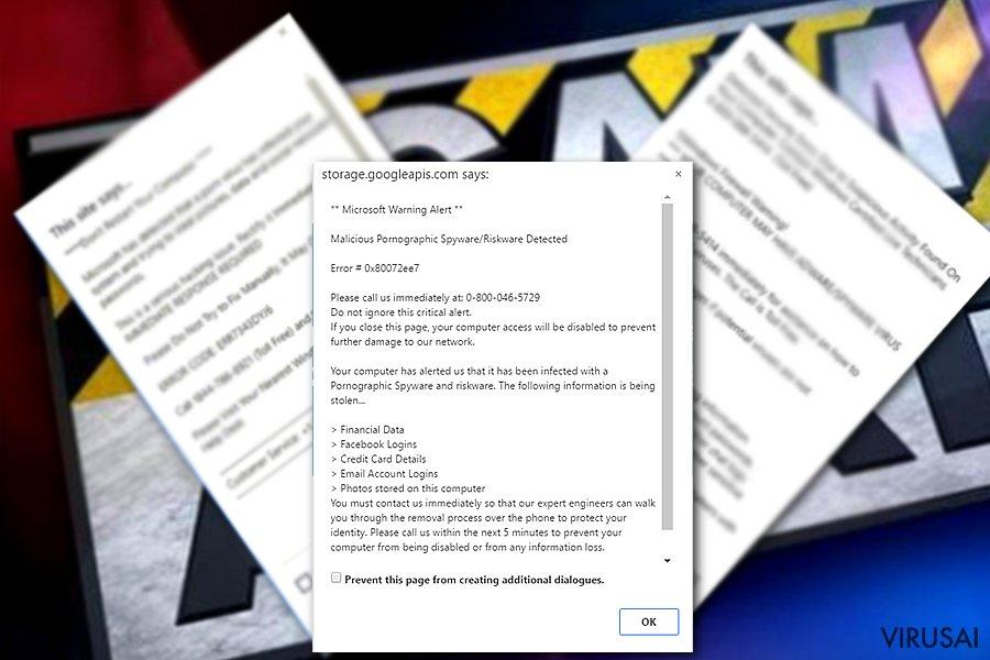 """Microsoft Warning Alert"" viruso pavyzdys"