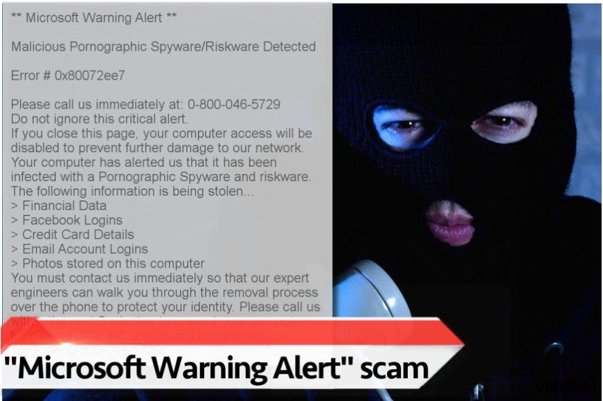 """""""Microsoft Warning Alert"""" techninės pagalbos virusas"""