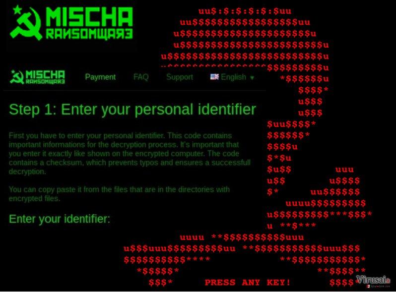 Mischa viruso išpirkos nuotrauka