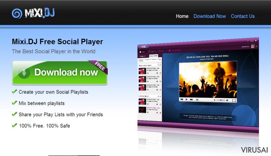 Mixi.dj virus ekrano nuotrauka