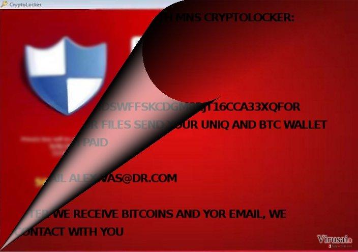 MNS Cryptolocker viruso pavyzdys