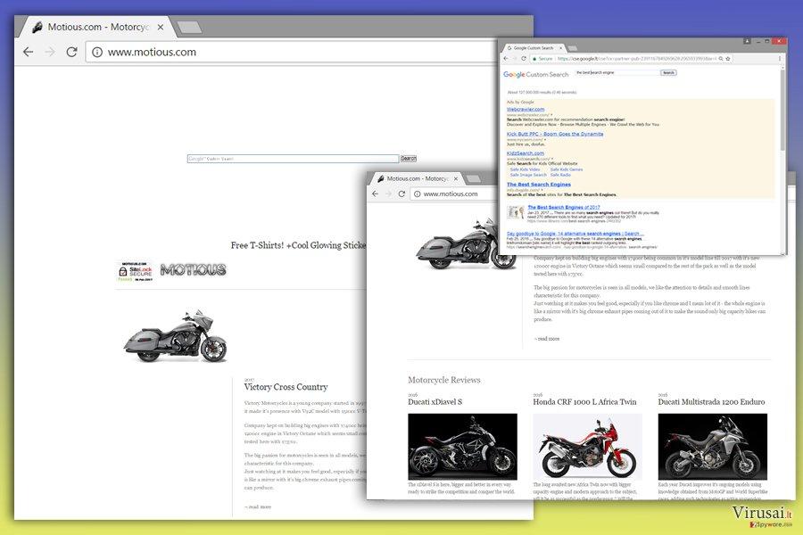 Motious.com viruso iliustracija