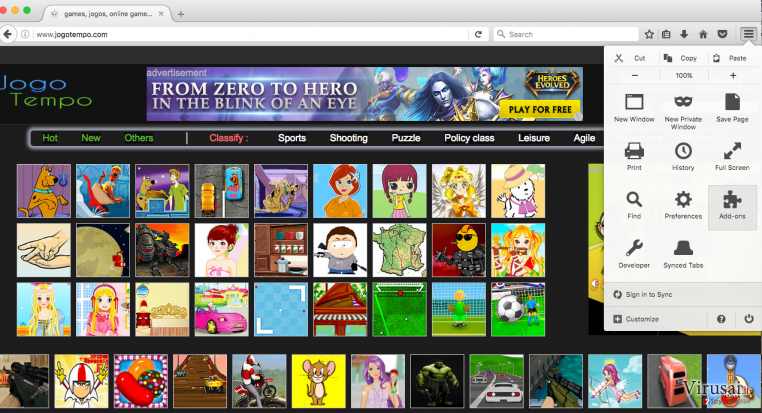Jogotempo reklamos ekrano nuotrauka