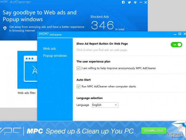 MPC AdCleaner oficialaus puslapio pavyzdys