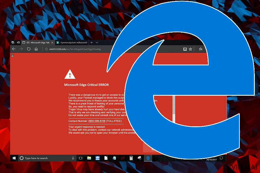 Internet Explorer Critical ERROR pranešimo pavyzdys