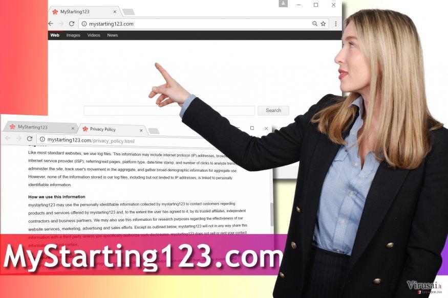 MyStarting123.com viruso pavyzdys