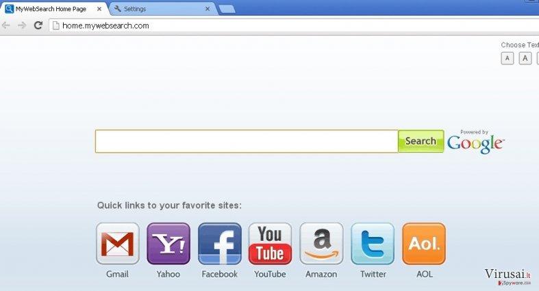 mywebsearch.com ekrano nuotrauka